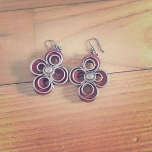 Lucky brand wood and metal earrings
